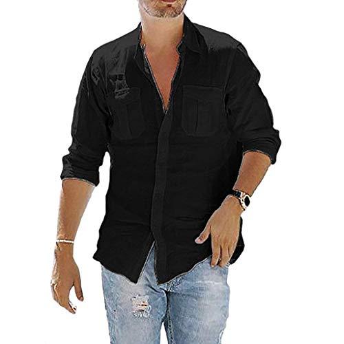 VANMO Herren Freizeithemd,2019 Sommer Herren Fahrer Cross Color Revers Langarm Fashion Freizeithemd Top Bluse Bequem Atmungsaktiv Faltenresistenz Stehkragen Knopf Shirt