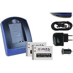 2 Batteries + Chargeur (USB/Auto/Secteur) pour Canon NB-5L / Ixus 90 is, 800 is, SD990 is.Powershot S110, SX230 HS .v. liste