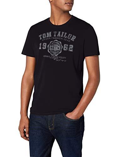 TOM TAILOR Herren logo tee T-Shirt, Blau (navy 6000), X-L