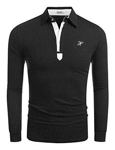 HOTOUCH Herren Langarmshirt Poloshirt Langarm Polohemd Casual T-Shirt Schwarz XXL (Freizeitschuhe Polo)