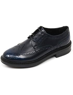 C3564 scarpa inglese donna ANTICA CUOIERIA scarpe blu cobalto shoe woman