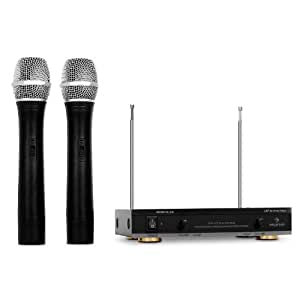 Auna FU-2-B kabellos Funkmikrofon (2x Mikrofon, bis 100m VHF)