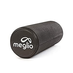 Meglio High Density Foam Roller - Ideal for Deep Tissue Massage and Myofascial Release - Perfect in Fitness, Exercise, Yoga, Pilates, Core Workout and the Gym - Includes Exercise Guides (Black (45cm x 15cm))