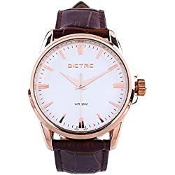 Wrist Watch Dictac Men's Rose Gold Alloy Case Black Leather Janpanese Movement Business Watch