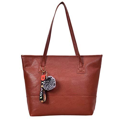 Bfmyxgs Mother es Day Hand Bag für Vintgae Frauen Leder Hairball Zipper Tote Solid Color Shoulder Bag Totes Handtasche Shoulder Bag Taschenrückpack Coin Bag. Brustpaket