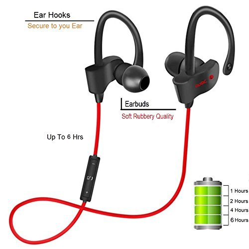 Piqancy Bluetooth V4.1 Headphones, Best Wireless Sports Earphones with Mic IPX7 Waterproof HD Stereo Sweat proof Ear buds for All Smarphones
