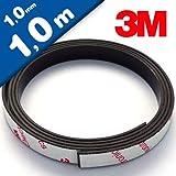 Neodym Magnetband Magnetstreifen selbstklebend - 1mm x 10mm x 1m - mit 3M-Kleber - Magnetklebeband mit sehr starke Haftkraft - diese Power-Neodymband besitzt eine Haftkraft von 350 g/cm²