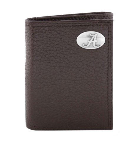 ZEP-PRO NCAA Alabama Crimson Tide Brown Pebble Grain Leather Trifold Concho Wallet, One Size - Gelbe Tri-fold Wallet