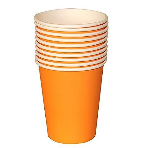 Tankerstreet jetables Orange Papier Tasses pour boissons chaudes froid, gobelets en papier Fête les pique-niques 255,1gram Lot de 8(Orange)