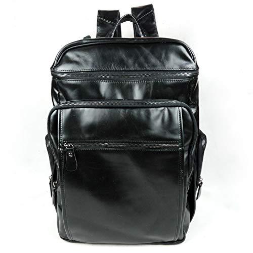 Leder Top Handle Bag, Fashion Oil Wax Leder Herren Outdoor Travel Rucksack,Black,20CM*28CM*40CM