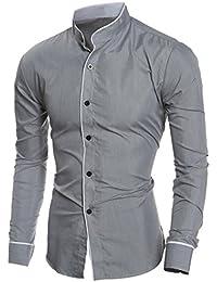 Longra Chemises Business Homme Garçon Slim Fit Manches Longues T-Shirt Homme  Polo Homme Tee 00c35e48d4c3