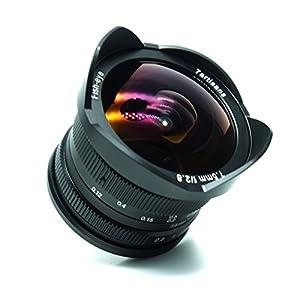 7artigiani 7.5mm F2.8APS-C manuale obiettivo fisheye per fotocamere Fujifilm con protezione copriobiettivo, rimovibile paraluce–nero