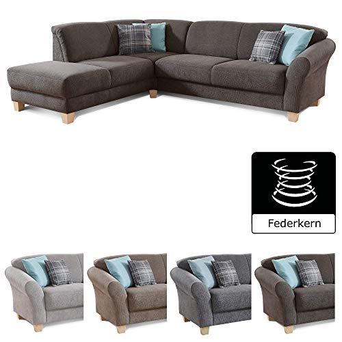 CAVADORE Ecksofa Gootlaand / Große Couch im Landhaus-Stil / Mit Federkern-Polsterung / 257 x 84 x 212 / Dunkelgrau