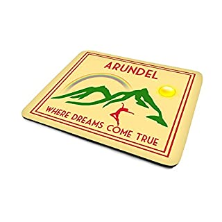 Arundel.'Where Dreams Come True', Art Deco Style Humorous, Village, Town or City Location, Mouse Mat, 23cm x 18cm x 5mm approximately