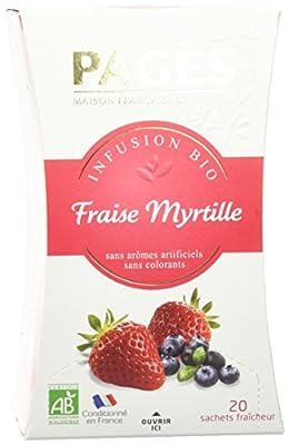 PAGÈS Infusion Fraise Myrtille Bio 20 Sachets - Lot de 2