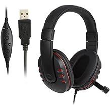 Auriculares Cascos Gaming, ICOCO Auriculares Cascos Gaming de Diadema con USB