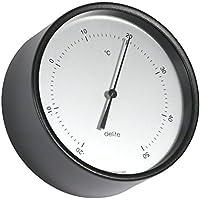 Termómetro Clausen, carcasa de acero inoxidable en negro mate lacado, de aluminio satinado Esfera