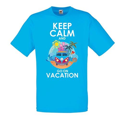 Camisetas Hombre IR de Vacaciones, Trajes Lindos, Ropa de Playa, Ropa de Resort (Medium Azul