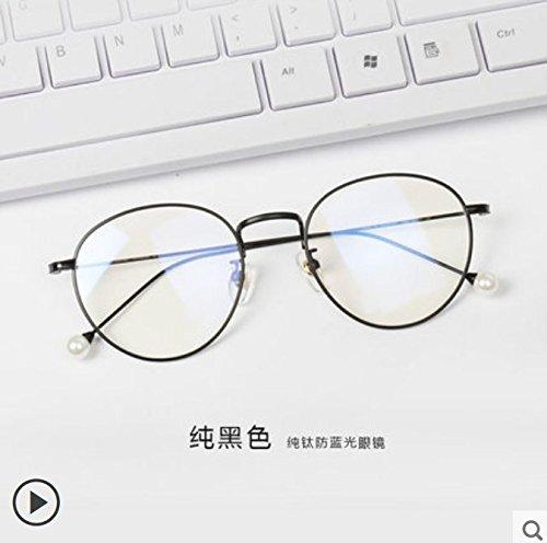 KOMNY Reines Titan Anti blaues Licht Brille Frames, Strahlenschutz Gläser, weibliche Flachgläser, Gläser, Keine Grad Frames, Brillenfassungen, reines Titan Rahmen, D