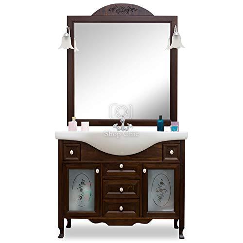 Shop chic arredo bagno in legno in stile classico noce con lavabo ante e cassetti