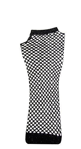 Black Sparkly Fingerless Mesh Gloves) Fingerlose Fischnetz Netz Netzhandschuhen (Schwarz Mesh Fingerlose Handschuhe)