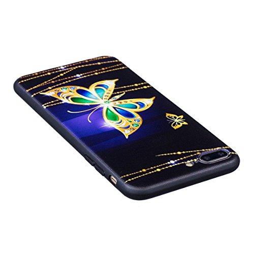 Coque iPhone 7 Plus, iPhone 7 Plus Coque en Silicone, SainCat Ultra Slim TPU Silicone Case Cover pour iPhone 7 Plus, Silicone 3D Conception Coque Anti-Scratch Soft Gel Cover Coque Caoutchouc Fleur Tra Papillon Big