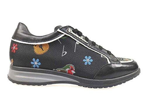 Scarpe donna BRACCIALINI 35 sneakers nero tessuto / pelle AP993