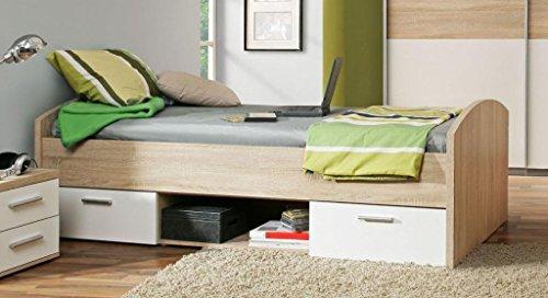 Jugendbett Winnie 90 x 200 cm mit 2 Schubladen - Sonoma Eiche / Weiss -
