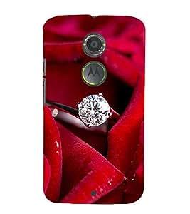FUSON Diamond Ring Red Rose 3D Hard Polycarbonate Designer Back Case Cover for Motorola Moto X2 :: Motorola Moto X (2nd Gen)