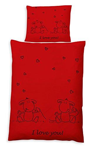 Haus und Deko Bettwäsche I Love You 2 TLG. Garnitur rot mit Reißverschluß Love Comic ca. 135x200 80x80 cm Mikrofaser