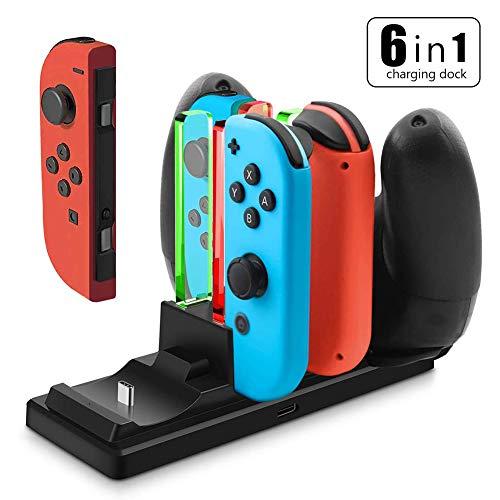 YFish Base Carga 4 Joy-con 2 Mando Pro Switch Nintendo