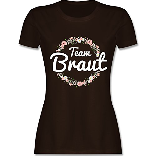 JGA Junggesellinnenabschied - Team Braut Blumenkranz - Damen T-Shirt Rundhals Braun