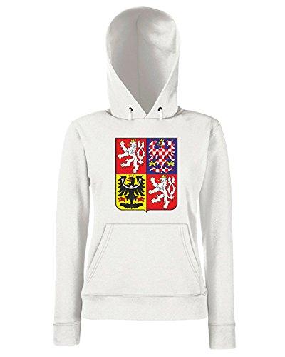 T-Shirtshock - Sweats a capuche Femme TM0083 Czech republic national emblem citta Blanc