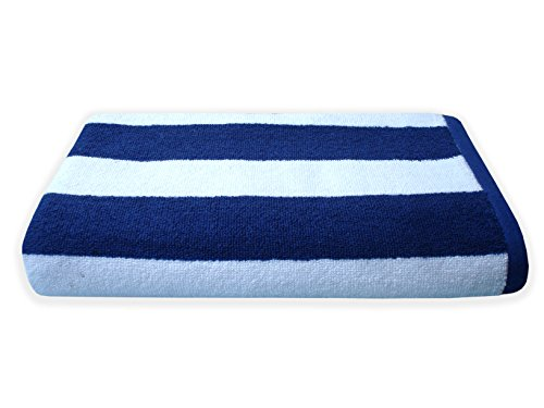 Divine Overseas Double Ply Cotton Cabana Stripes Absorbent and Durable Bath Towel (White and Blue)