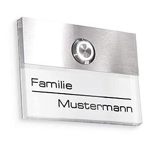 Türklingel in weiß mit Gravur-Service und LED beleuchtetem Klingeltaster (verschiedene Farben wählbar), Edelstahl V2A Klingelplatte, Unterputz - Maße: 110 x 80 mm - von Metzler-Trade®