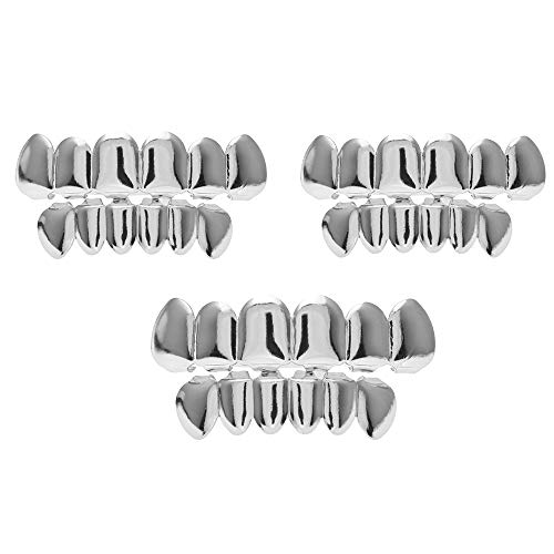 Aparatos ortopédicos dorados plateados, dientes en la parte superior para el juego de rol de vampiro de la bola Parte superior inferior Hip Hop Dientes Parrillas,Silver+Silver+Silver