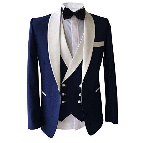 Herren 3 Teilig Schalkragen Anzug Party Sakko Hochzeit Smoking von Allthemen Blau Medium