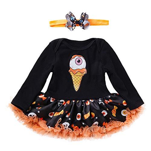 SEWORLD Baby Halloween Kleidung,Niedlich Neugeborenen Baby Mädchen Kleid Strampler Overall Kleider Halloween Outfits(Schwarz,12 Monate)