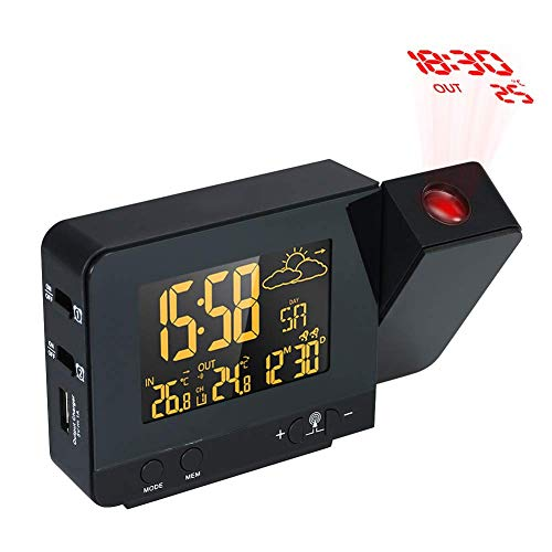 OMLTER Radio-Controll Wireless Weather Station Projection Clock LCD Digital Projection Alarm Clock with Date Dual Alarm Snooze Function (Lcd Clock Radio)