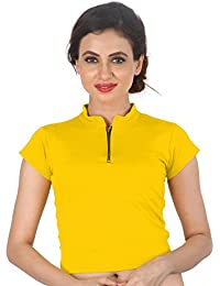 678726b9d2b6c8 Biyu Womens Girls Lycra Zipper Collared Stretchable Readymade Saree Blouse  Crop Top (Fits Bust Size