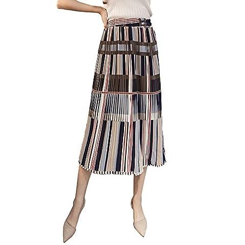 Years Calm Womens Retro Elastic Waist Stripe A-Line Midi Pleated Below Knee Skirt (One size, A)