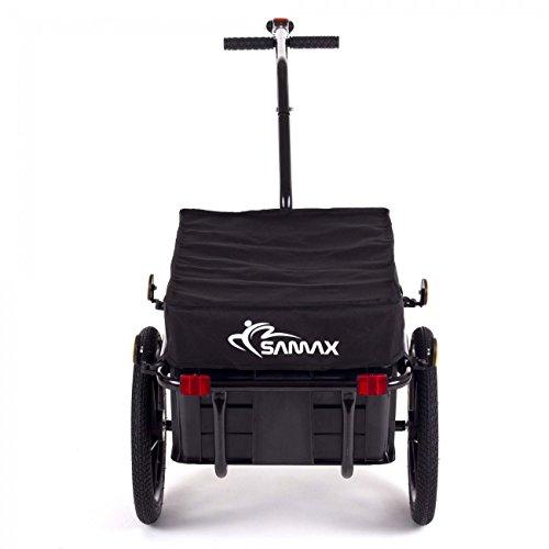 SAMAX Transportanhänger Fahrradanhänger Lastenanhänger Fahrrad Anhänger Handwagen mit Kunststoffwanne für 60 Kg / 70 Liter in Schwarz - 4