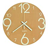 (Wood Color) - LENRUS Luminous Wall Clock, 30cm Wooden Silent Non-Ticking Kitchen Wall Clocks with Night Lights for Indoor/Outdoor Living Room Bedroom Decor Battery Operated (Wood Colour)