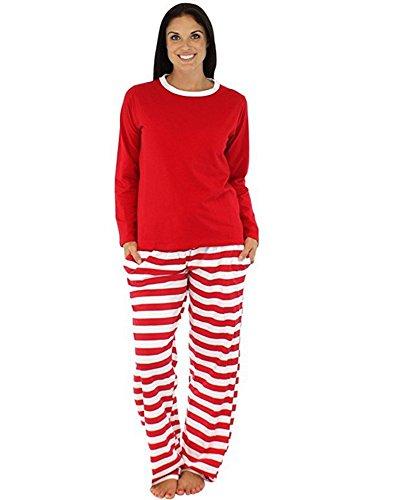 LvRao Gemütlich Weihnachten Schlafanzüge Kinder Mama Papa Gestreifte Familie Look Pyjama Set Nachtwäsche (Rot #Mama, CN M)