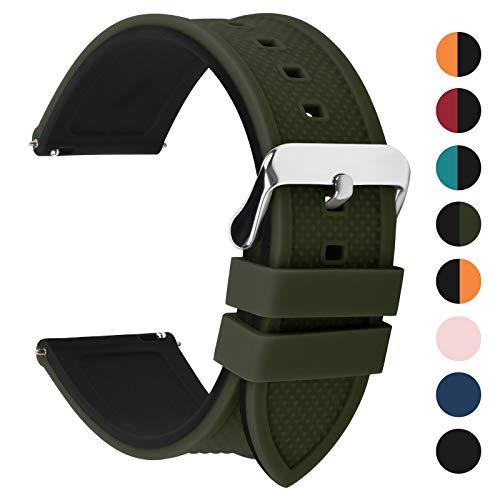 Fullmosa Silikon Uhrenarmband 24mm mit Schnellverschluss in 8 Farben, Regenbogen Weich Silikon Uhrenarmband mit Edelstahlschnalle,24mm Armeegrün+Schwarz