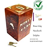 Wooden Money Bank Coin Piggy Bank Dolphin Home Decor Coin Box For Kids & Adult Gifts