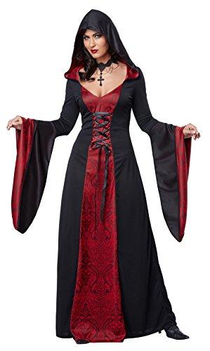 Disfraz-de-encapuchado-vestido-vampiresa-gotico-color-rojo-y-negro-para-mujer-Plus-talle-3XL