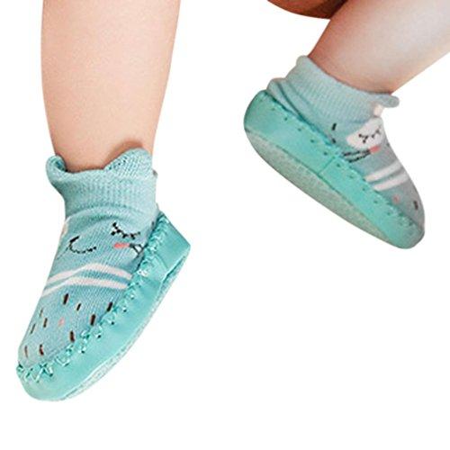 Janly Schuhe für 0-2 Jahre Baby, schöne Anti-Rutsch-Socken Slipper Neugeborenen Indoor Cartoon Tier Mokassins Stiefel Baumwolle Schuhe Junge Mädchen Socken (6-12 Monate, Grün) (Socke Sterne-zehe)