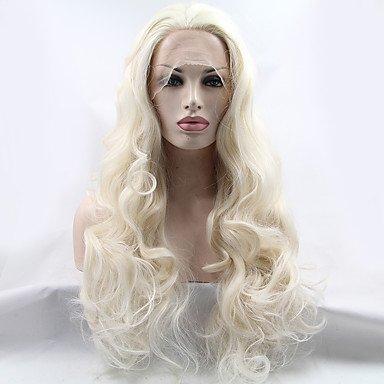(gzhuang Beste Qualität Hellblond Hitzebeständige Lang Gelockt Gewellt Kunsthaar für Frauen Hitzebeständig klebefreien Platinum Blonde synthetische Lace Front Perücken)