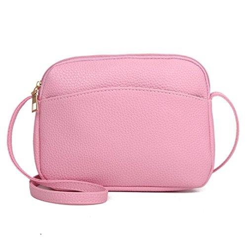 Beikoard -30% vendita calda borsa a spalla con tracolla in pelle modello litchi modello vintage pure women (rosa, moda)